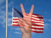 Peace Flag. This is a crisp shot of the American flag and the peace sign royalty free illustration
