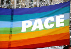 Peace flag with big italian written PACE Stock Image