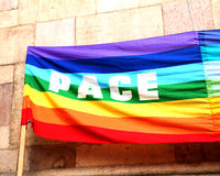 Peace flag with big written PACE in italy 1 Stock Photography