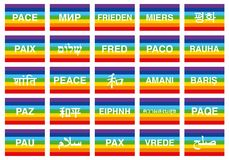 Peace flags in various languages of the world Stock Image