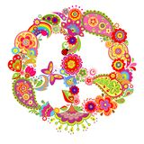 Peace flower colorful symbol with paisley Stock Image