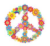 Peace flower symbol. With colorful flowers Stock Photos
