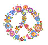 Peace flower symbol. With colorful flowers Royalty Free Stock Image