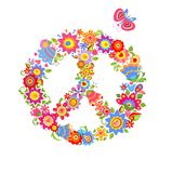 Peace flower symbol with colorful funny flowers Royalty Free Stock Photos