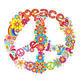Peace flower symbol. With hippie symbolic Royalty Free Illustration
