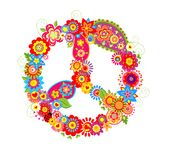 Peace flower symbol with poppies and paisley Stock Photography