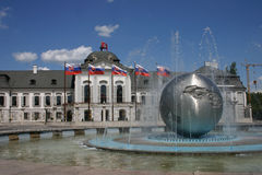 Peace Fountain, Bratislava, Slovakia. Peace Fountain & Grassalkovich Palace in Bratislava, Slovakia, Hodzovo Square a;so called Mierove Namestie, summer day Royalty Free Stock Photos