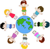 Peace And Friend. Illustration of kids on the world Royalty Free Stock Photos