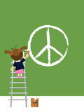 Peace - Girl painting Royalty Free Stock Photos