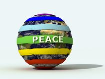 Peace globe logo. Peace flag on the globe - digital artwork Stock Image