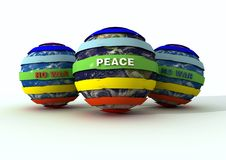 Peace globe and no-war logo. Peace- no war logo on globe -3d rendering Royalty Free Stock Image