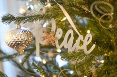 Peace - Silver Christmas Tree Ornament - Decoration royalty free stock photography
