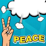 Peace Hand Pop Art Template. Illustration of hand doing peace shape in vintage pop art style for poster template Royalty Free Stock Images