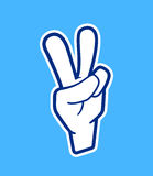 Peace hand sign. Vector icon in cartoon style Royalty Free Stock Images