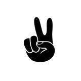 Peace hand symbol. Black on white icon Stock Photography