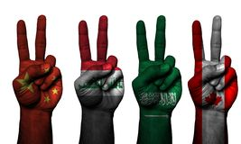 Peace hand symbol 4 countries stock photography
