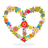 Peace heart sign made of flowers. Vector illustration Stock Photography