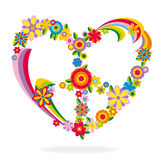Peace heart sign made of flowers. Vector illustration Stock Images