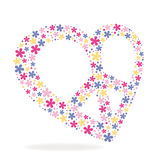 Peace heart sign made of flowers. Vector illustration Stock Photo
