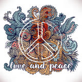 Peace Hippie Symbol over decorative ornate background.  Freedom, Royalty Free Stock Photography