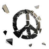 Peace icon broken into tiny black pieces isolated Stock Photography