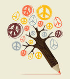 Peace icon tree pencil concept. Peace and love diversity symbol pencil tree idea. Vector illustration layered for easy manipulation and custom coloring Royalty Free Stock Images