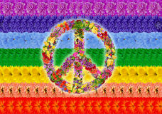 Peace Islamic rainbow. Peace floral symbol on rainbow Islamic flag background. Abstract handmade collage from summer flowers Stock Images