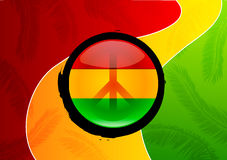 Peace in the Island. A Peace sign On top of the three island colors representing the Rasta culture creating a bold graphic that stands out in a strong way. Great royalty free illustration