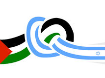 Peace between israel and palestine. Vector illustration of peace cooperation logo between israel and palestine, designed with a knot made by the two flags Royalty Free Stock Photos