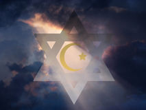 Peace. Jewish Star and Muslim Crescent stock illustration