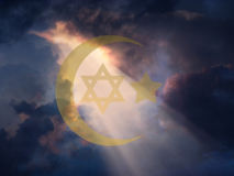 Peace. Jewish Star and Muslim Cresent vector illustration