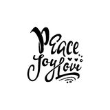 Peace joy love. Hand-lettering text . Handmade vector calligraphy for your design Royalty Free Stock Image