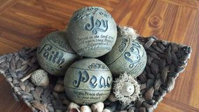 Peace, Joy & Love 1. Table centerpiece, wicker, scripture, round, square, modern Royalty Free Stock Images