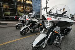 Peace keeping force. Motorcycles use by police force stock image