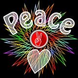 Peace leaflet. Semitransparent peace inscription, victoria finger gesture and heart on black background with rainbow line star sha. Pe. Flyer in retro hippies Stock Photography