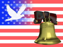 Peace & Liberty. American flag with dove silhouette over blue field balanced by the liberty bell over the red & white stripes Stock Image