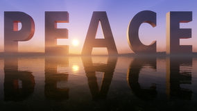 Peace Logo On The Epic Lake Sunset Horizon Royalty Free Stock Photo