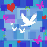 Peace & love. A decorative wall paper with hearts, butterflies and flowers floating on a blue hued collection of squares Stock Photos