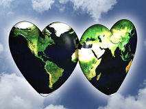 Peace and love concept. Two hearts textured with world map on cloudy sky Vector Illustration