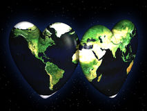 Peace and love concept. Two hearts textured with world map on night sky Royalty Free Illustration
