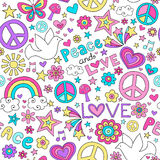 Peace and Love Dove Pattern Notebook Doodles. Seamless Pattern Doves Groovy Peace Sign Notebook Doodle Design- Hand-Drawn Illustration Background stock illustration