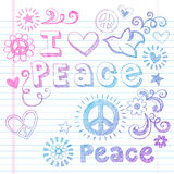 Peace Love and Dove Sketchy Doodles Vector. Peace Love Sketchy Notebook Doodles Design Elements on Lined Sketchbook Paper Background- Vector Illustration Stock Photo