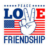 Peace Love And Friendship With American Flag Royalty Free Stock Photo