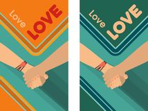 Peace Love Friendship. Two versions of the poster in retro style milking people holding hands Royalty Free Stock Photos