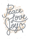 Peace, love, joy Christmas lettering quote with a golden wreath Royalty Free Stock Photo