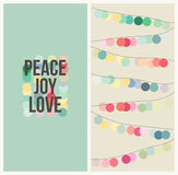 Peace love joy. Multicolored Christmas design Stock Images