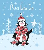 Peace love joy winter christmas greeting card background with cute cartoon penguin Stock Images