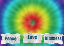 Peace love and kindness retro tie-dye background stock illustration
