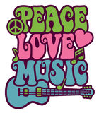 Peace Love Music. Retro-style design of Peace, Love and Music with peace symbol, heart, musical notes and guitar Stock Photo