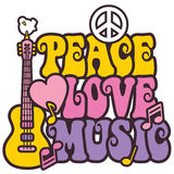 Peace-Love-Music. Retro-style design of Peace, Love and Music with peace symbol, heart, musical notes and guitar Stock Photo